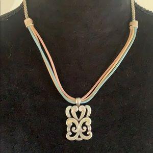 Brighton Leather Silver & Enamel Necklace